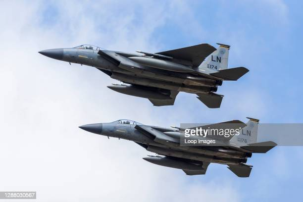 Pair of F-15C Eagles from the USAF during a flypast.