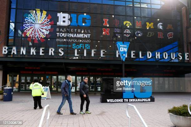 A pair of fans are turned away from entering the field house prior to the second round of the Big Ten Men's Basketball Tournament at Bankers Life...