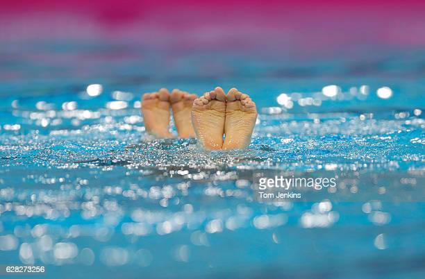 A pair of feet during the synchronised swimming free duet competition on day three of the 33rd LEN European Aquatics Championships 2016 at the London...
