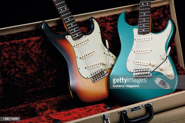 A pair of Fender Custom Shop Coda Music Deal Select Stratocaster electric guitars During a studio shoot for Guitarist Magazine April 4 2011