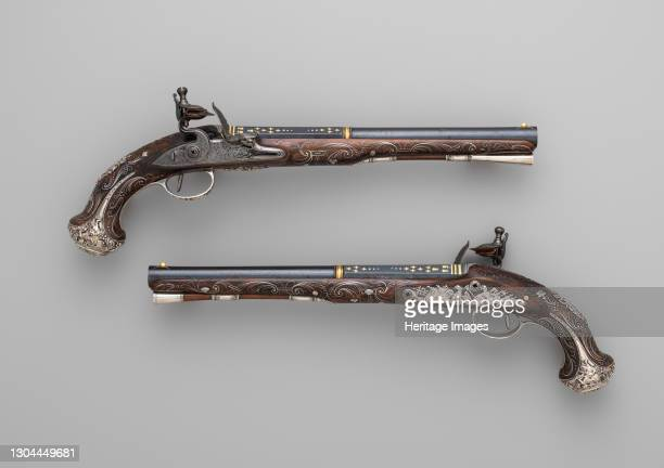Pair of Flintlock Pistols, British, London, circa 1765. Artist Henry Hadley.
