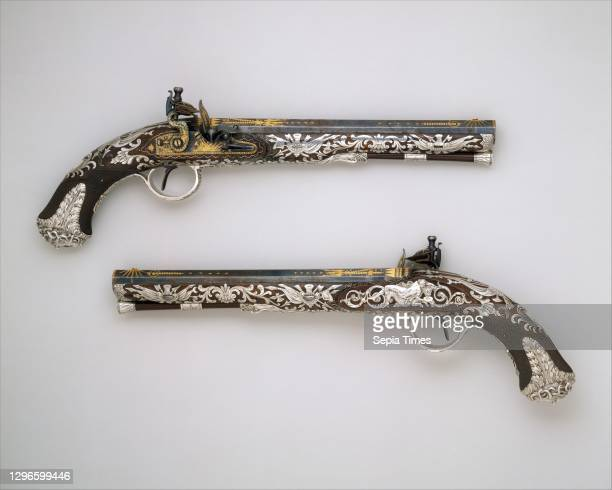 Pair of Flintlock Pistols, hallmarked for 1800–1801, London, British, London, Steel, wood , silver, gold, L. Of each pistol 16 in. ; L. Of each...