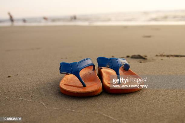 pair of flip flop at the beach - ciabatta infradito foto e immagini stock