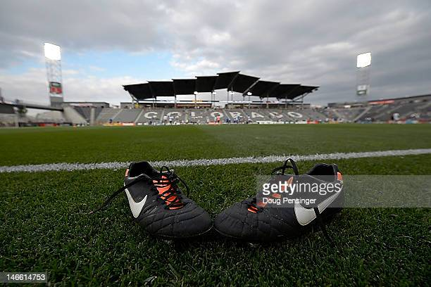 A pair of football boots lie on the pitch prior to the match between the San Jose Earthquakes and the Colorado Rapids at Dick's Sporting Goods Park...