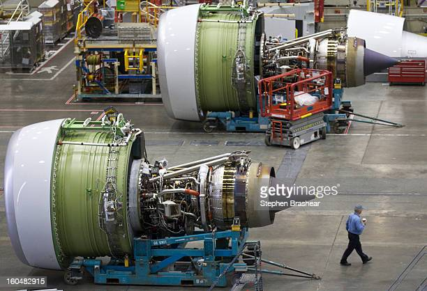 A pair of GE engines sit on the Boeing 777 assembly line June 13 2012 at the Boeing Factory in Everett Washington
