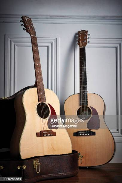 Pair of Gibson G-45 Series electro-acoustic guitars, including a G-45 Studio and a G-45 Standard, taken on October 14, 2019.