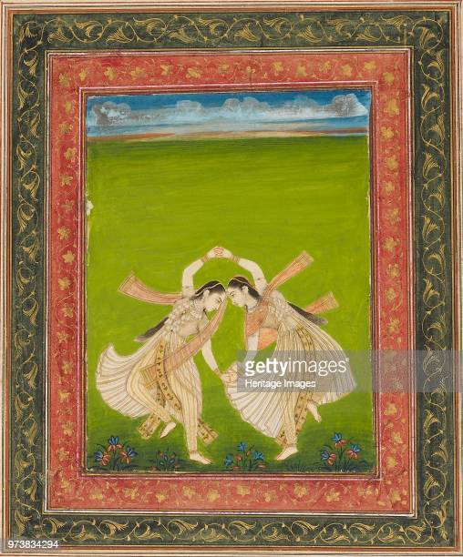 Pair of girls playing phugadi 18th century Dimension height x width mount 554 x 404 cmheight x width page 387 x 262 cmheight x width painting with...