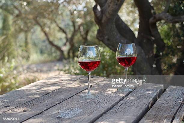 pair of glasses of red wine