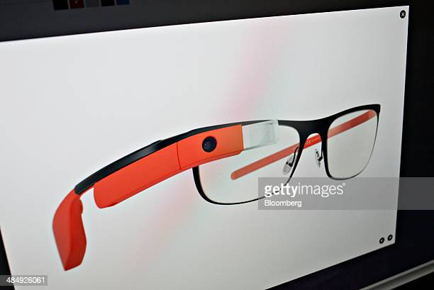 A pair of glasses outfitted with Google Glass is displayed on a computer screen in Tiskilwa Illinois US on Tuesday April 15 2014 Beginning at 9 am ET...