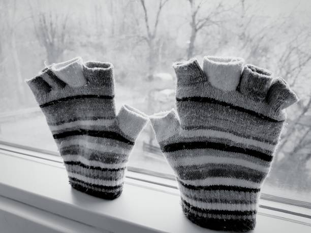 Pair Of Gloves Stuck To Window. It Depicts Curiosity, Eager To Go Ouside In A Cold Winter Season