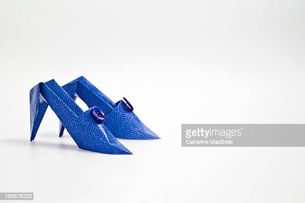 a pair of hand made blue paper shoes - catherine macbride fotografías e imágenes de stock