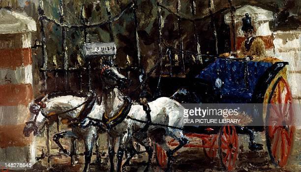 Pair of horses in front of a gate by Henri de ToulouseLautrec oil on canvas 14x23 cm Albi Musée ToulouseLautrec