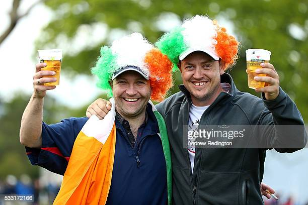 A pair of Irish fans enjoy a beverage during the third round of the Dubai Duty Free Irish Open Hosted by the Rory Foundation at The K Club on May 21...