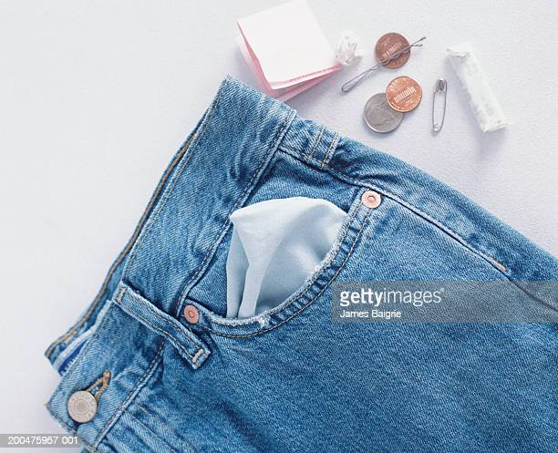 Pair of jeans and USA coins
