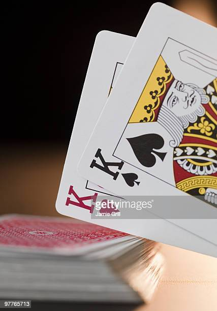 pair of kings - hand of cards stock photos and pictures