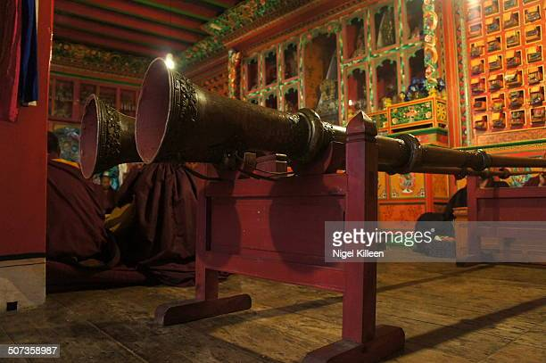 Pair of large Tibetan horns inside Tengboche Monastery The most widely used instrument in Tibetan Buddhist culture. Tengboche Nepal