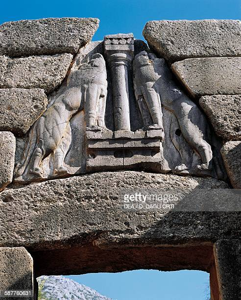 Pair of Lions relief on the outside of the Lion Gate 1300 BC Mycenae Greece Mycenaean civilisation 14th century BC