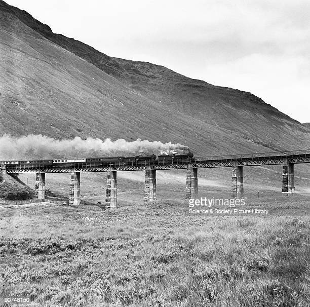 Pair of LNER K2 260 locomotives heading a heavy train on 'Horseshoe Curve' viaduct mid 1950s London and North Eastern Railway K2 locomotives on the...