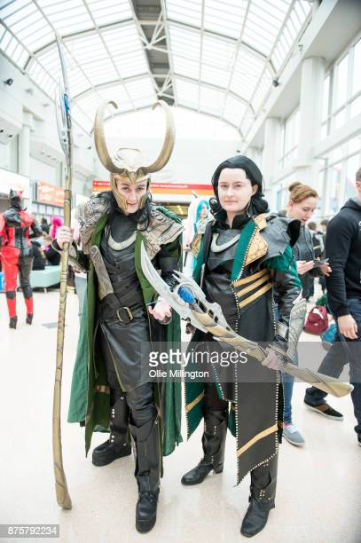 Pair of Loki cosplay group in character during the Birmingham MCM Comic Con held at NEC Arena on November 18, 2017 in Birmingham, England.