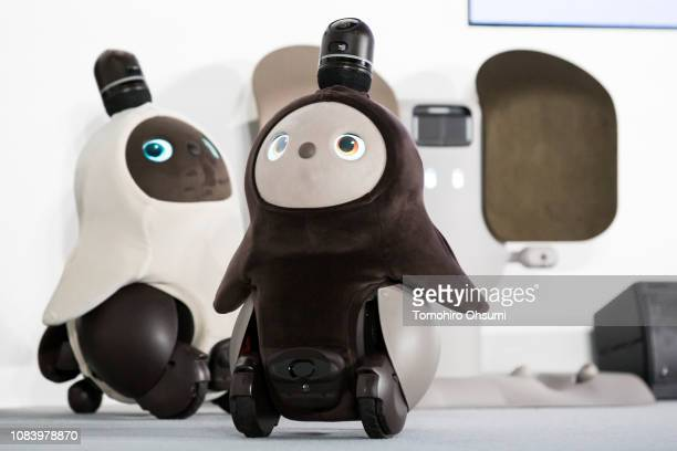 A pair of Lovot robots developed by Groove X Inc are demonstrated during an unveiling event on December 18 2018 in Tokyo Japan Groove X a Japanese...