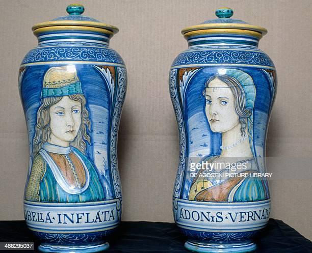 Pair of maiolica pots from Deruta Umbria Italy