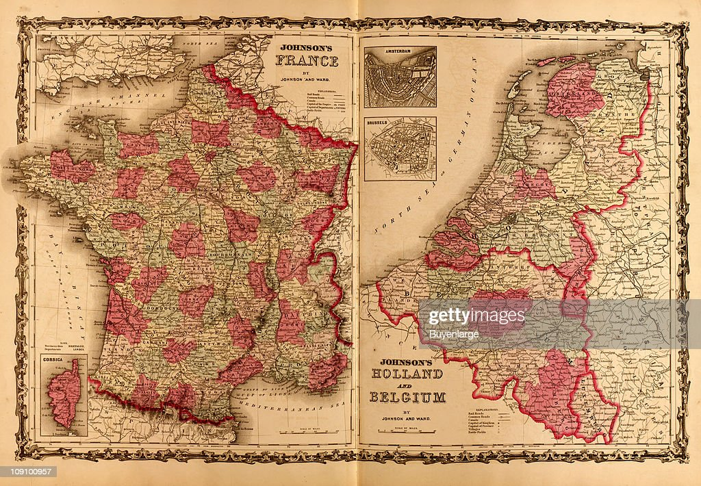 Map Of France And Holland Belgium.A Pair Of Maps On Facing Pages Of An Atlas Show France On The Left