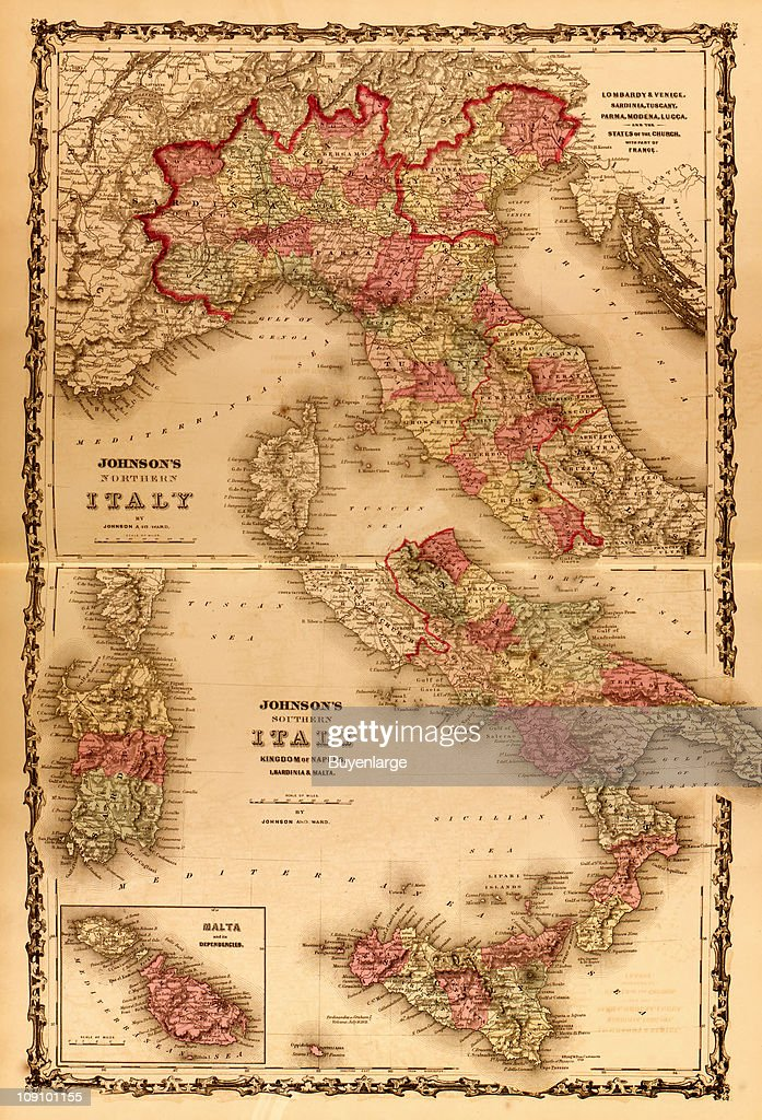 Show A Map Of Italy.A Pair Of Maps On Facing Pages Of An Atlas Show Northern Italy And