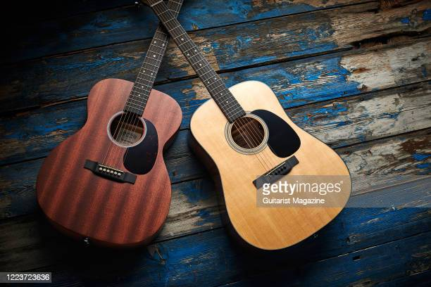 A pair of Martin Road Series electroacoustic guitars including a Martin Road Series 00010E and a Martin Road Series D12E taken on August 19 2019