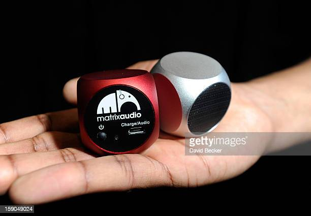 A pair of Matrix Qube pocket speakers from Matrix Audio are on display at a press event at the Mandalay Bay Convention Center for the 2013...