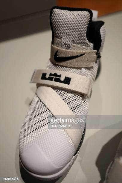 A pair of Men's Zoom Soldier IX FlyEase are displayed as part of the AccessAbility exhibit at the Cooper Hewitt Smithsonian Design Museum February 8...