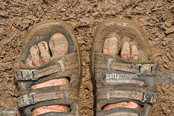 A pair of muddy feet at the 2005 Glastonbury festival