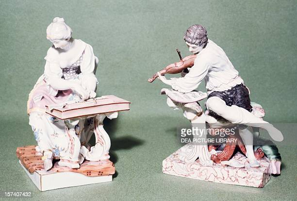 Pair of musicians porcelain Ludwigsburg manufacture BadenWuerttemberg Germany