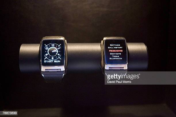 Pair of new prototype watch phones are seen at the LG booth at the 2008 International Consumer Electronics Show at the Las Vegas Convention Center...