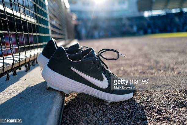 Pair of Nike cleats for the Pittsburgh Pirates on the field before the spring training game against Minnesota Twins at Century Link Sports Complex on...