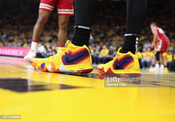 A pair of Nike shoes worn by guard Jordan Bohannon of the Iowa Hawkeyes during the matchup against the Wisconsin Badgers on November 30 2018 at...
