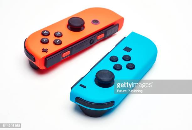 A pair of Nintendo Switch JoyCon controllers taken on February 22 2017