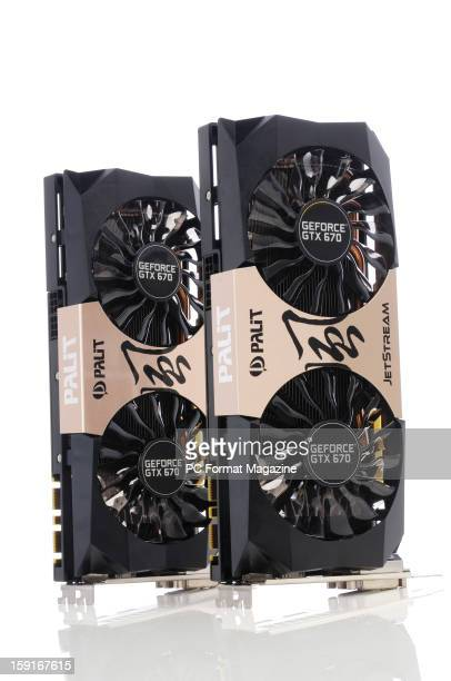 A pair of Palit GeForce GTX 670 JetStream graphics cards photographed on white taken on May 31 2012