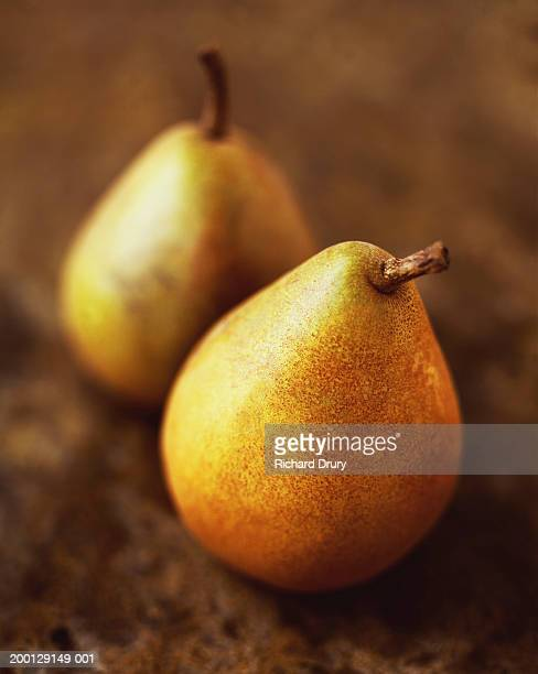 pair of pears, close-up (focus on one pear) - richard drury stock pictures, royalty-free photos & images