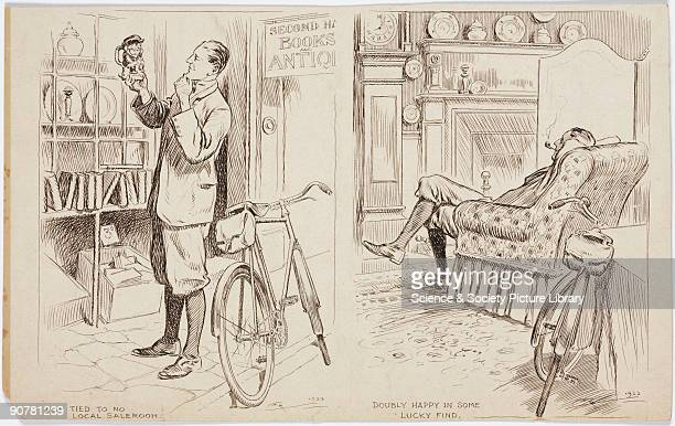A pair of pen and ink drawings by Frank Patterson part of a series on cycling themes In the first illustration titled �I am Tied to no Local...