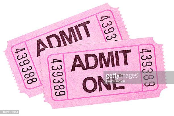 Pair of pink Admit One tickets