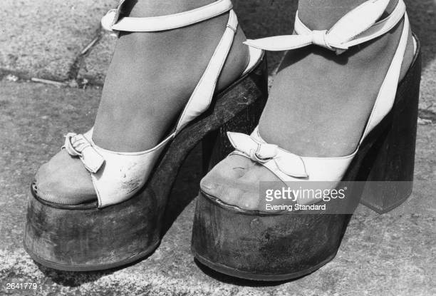 A pair of platform shoes popular in the 1970's