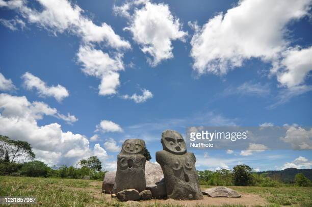 Pair of Pokekea megalithic statues that look like husband and wife are found in the Besoa Valley, Poso Regency, Central Sulawesi Province, Sunday,...