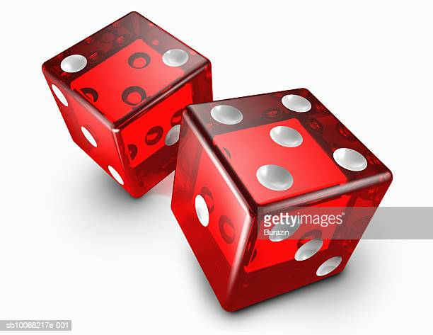 Pair of red dice on white background