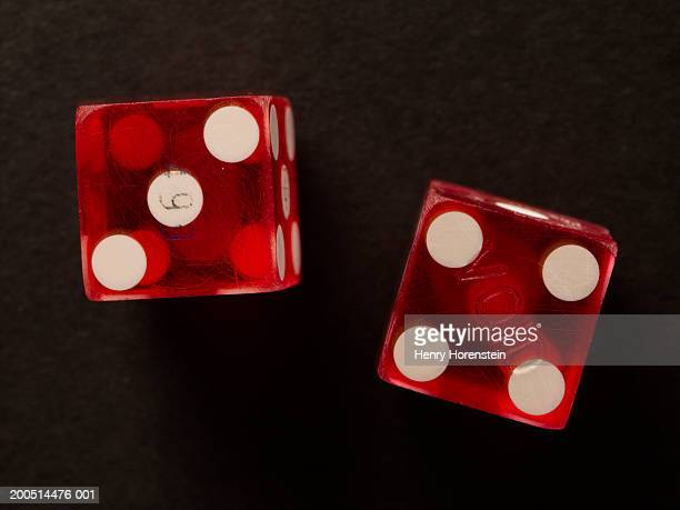 Pair of red dice, overhead view