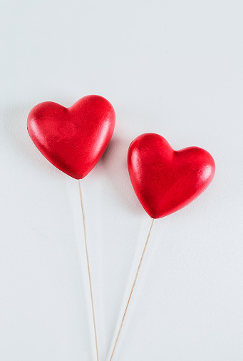 Pair of red hearts on white background - gettyimageskorea