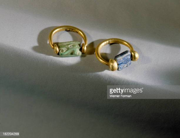 Pair of rings from the tomb of General Wen Djeba En Djed senior official of Psusennes I The stones are inscribed with the wedjat eye the wounded and...