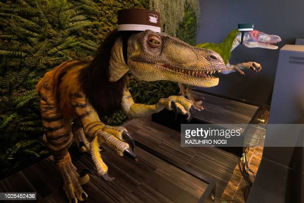 A pair of robot dinosaurs wearing bellboy hats welcome guests from the front desk at the Hennna Hotel in Urayasu suburban Tokyo on August 31 2018 The...