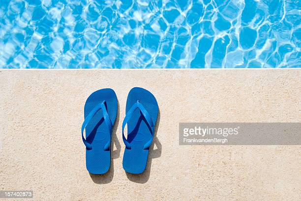 pair of sandals - poolside stock pictures, royalty-free photos & images