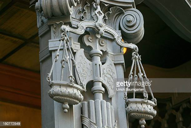 Pair of scales of the Justitia at the entrance of the public prosecutors office in Berlin