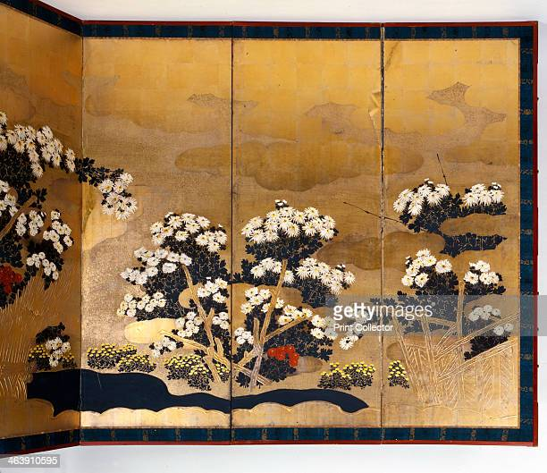 Pair of screens with 6 panels with gold background Edo period Japanese 16001867 From a private collection